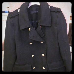 Navy Blue Zara Military pea coat